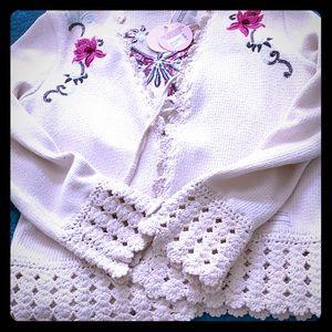 Beautiful Odd Molly Butternut Knit Cardigan M NWT
